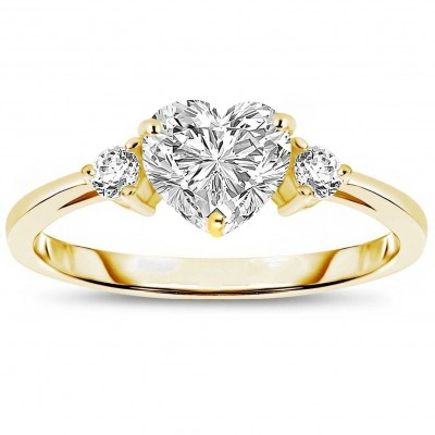 Gold Heart Cut White Sapphire 3-Stone 925 Sterling Silver Promise Rings For Her