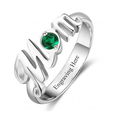 Round Cut 925 Sterling Silver Engraved Personalized Birthstone Mother Ring