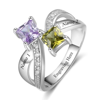 Princess Cut 925 Sterling Silver Personalized Engraved Birthstone Ring