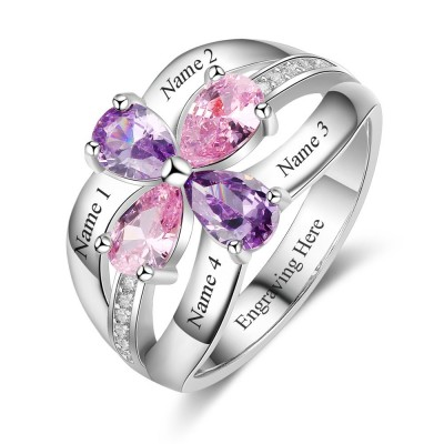 Engraved Pear Cut 925 Sterling Silver Personalized Birthstone Ring