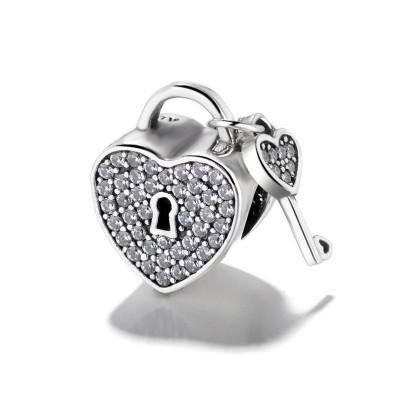 Heart Lock & Key Charm Sterling Silver