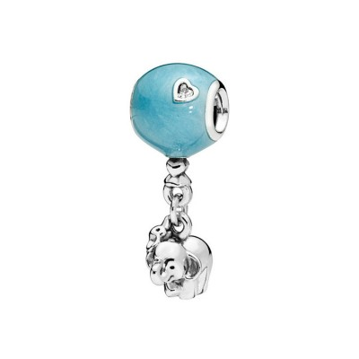 Good Luck Elephant Cyan Charm Sterling Silver