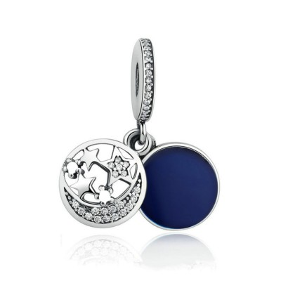 Moon & Stars Royal Blue Charm Sterling Silver