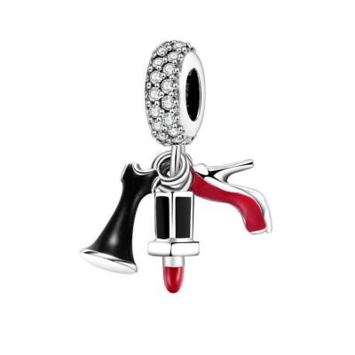 Heels & Lipstick Charm Sterling Silver