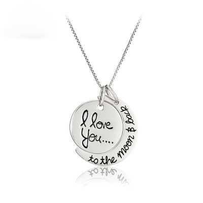 Titanium I love you to the moon and Back Pendant Necklace