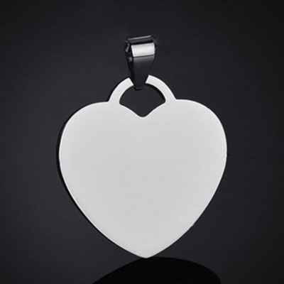 Titanium Steel Personalized Photo Engraved Heart Shape Pendant Necklace