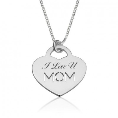 925 Sterling Silver I Love You Mom Necklace