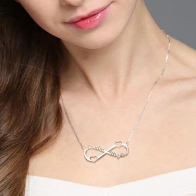 925 Sterling Silver Double Heart Infinity Names Necklace