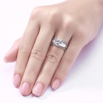 Princess Cut White Sapphire S925 Silver 3 Piece Ring Sets