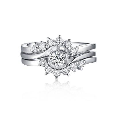 Art Deco Round Cut White Sapphire S925 Silver 3 Piece Ring Sets