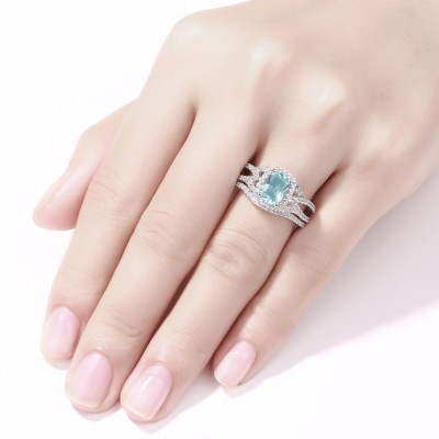Emerald Cut 925 Sterling Silver Aquamarine Halo Ring Sets