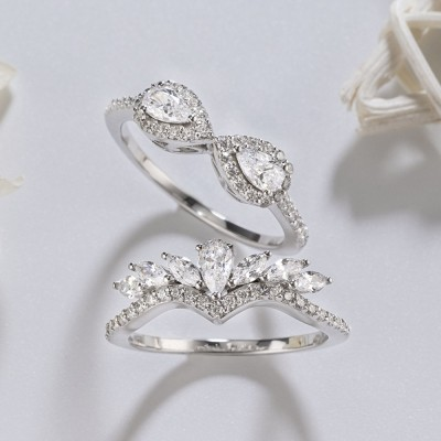 Pear Cut White Sapphire 925 Sterling Silver Halo Bridal Sets