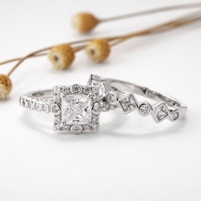 Princess Cut White Sapphire 925 Sterling Silver Halo Bridal Sets