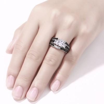 Cushion Cut Black & White Sapphire S925 Silver 3-Stone 3 Piece Ring Sets
