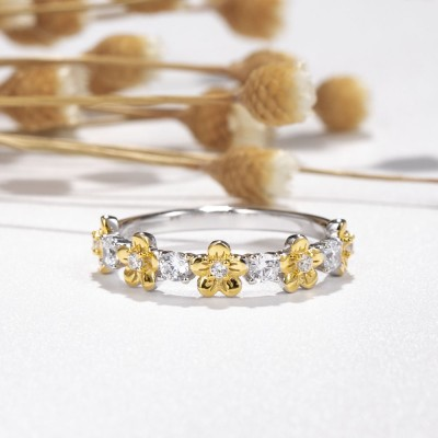 Round Cut White Sapphire Gold Flower Two-Tone 925 Sterling Silver Bridal Sets
