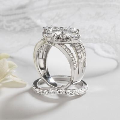 Pear Cut White Sapphire 925 Sterling Silver Bridal Sets