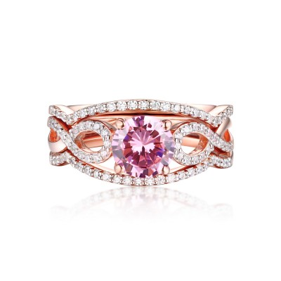 Round Cut Pink Sapphire Rose Gold 925 Sterling Silver 3 Piece Ring Sets
