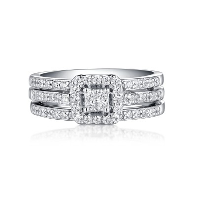 Round Cut Halo White Sapphire 925 Sterling Silver 3 Piece Ring Sets