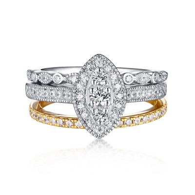 Round Cut 925 Sterling Silver & Gold White Sapphire 3 Piece Ring Sets