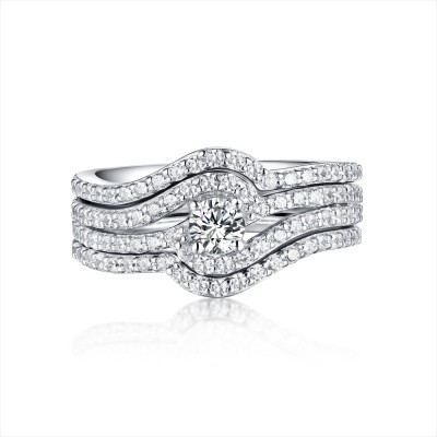 Round Cut 3 Piece White Sapphire 925 Sterling Silver Ring Sets