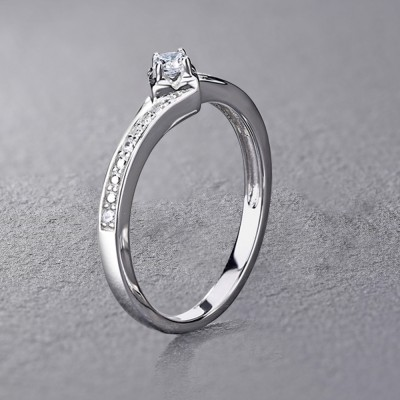 Round Cut White Sapphire Sterling Silver Engagement Rings