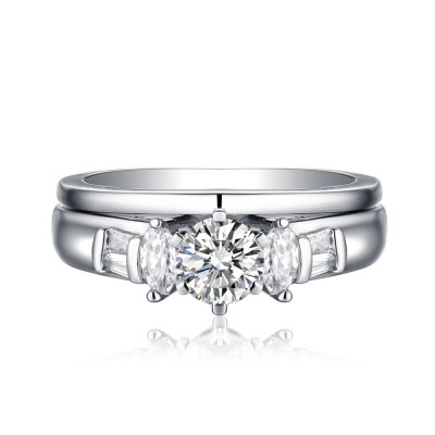 Marquise & Round Cut S925 White Sapphire 3-Stone Ring Sets