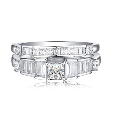 Cushion Cut 925 Sterling Silver White Sapphire Ring Sets