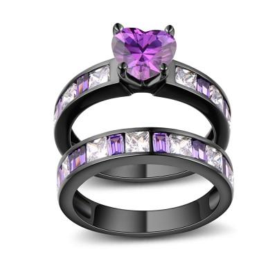 Heart Cut Amethyst Black 925 Sterling Silver Bridal Sets