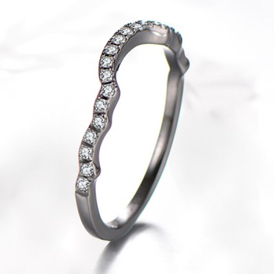 Round Cut White Sapphire Black Sterling Silver Wedding Bands