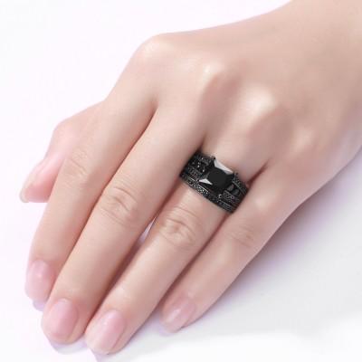 Black Princess Cut Black 925 Sterling Silver Bridal Sets