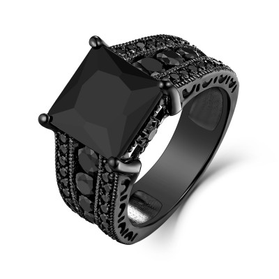 Black Sapphire Princess Cut Black 925 Sterling Silver Engagement Rings