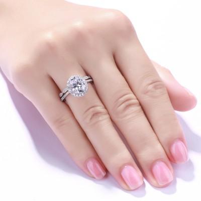 Oval Cut Gemstone 925 Sterling Silver Bridal Sets