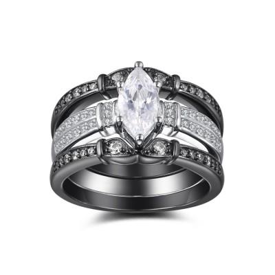 Oval Cut Gemstone Black 925 Sterling Silver Bridal Sets
