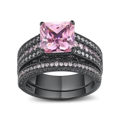 Asscher Cut Pink Sapphire Black 925 Sterling Silver Bridal Sets