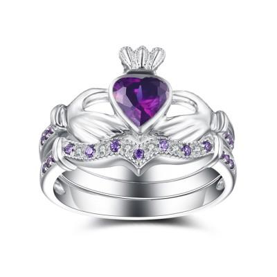 Heart Cut Amethyst 925 Sterling Silver Bridal Sets