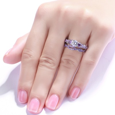 Round Cut Amethyst 925 Sterling Silver Bridal Sets