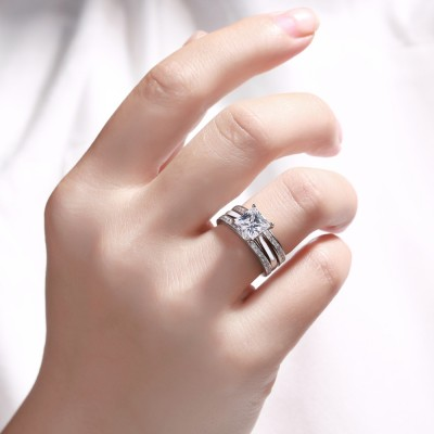 Classic Princess Cut White Sapphire 925 Sterling Silver Women's Ring Set
