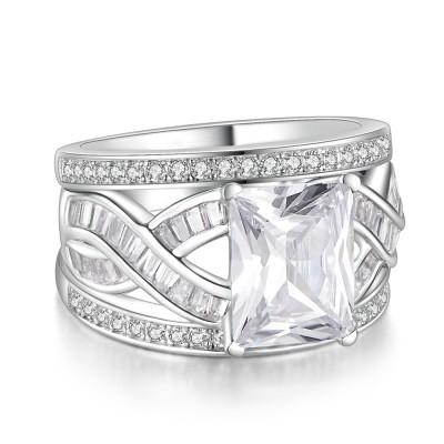 Emerald Cut White Sapphire 925 Sterling Silver Women's Bridal Ring Set