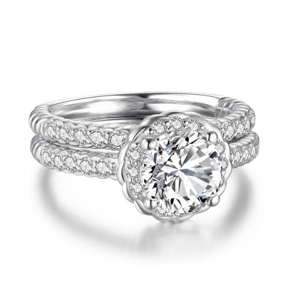 Round Cut White Sapphire 925 Sterling Silver Women's Bridal Ring Set