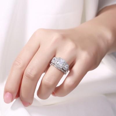Princess Cut White Sapphire 925 Sterling Silver Halo 3-Stone Bridal Sets