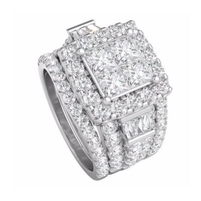 Princess Cut White Sapphire 925 Sterling Silver 3-Piece Halo Bridal Sets