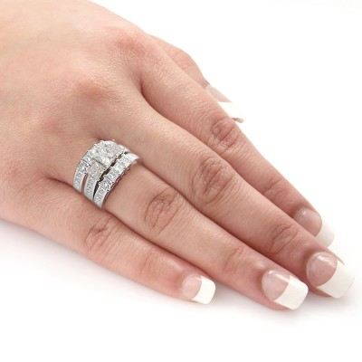 Princess Cut White Sapphire Sterling Silver 3-Piece Bridal Sets