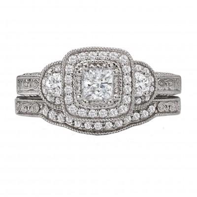 Princess Cut White Sapphire Sterling Silver Halo 3-Stone Bridal Sets