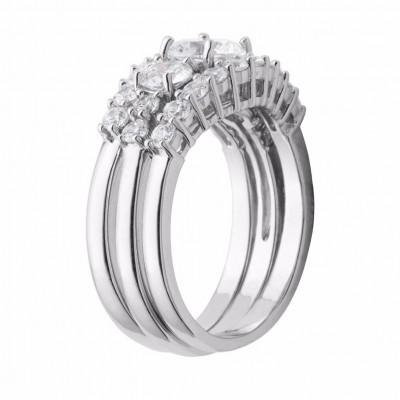 Round Cut White Sapphire 925 Sterling Silver 3-Stone Trio Bridal Sets