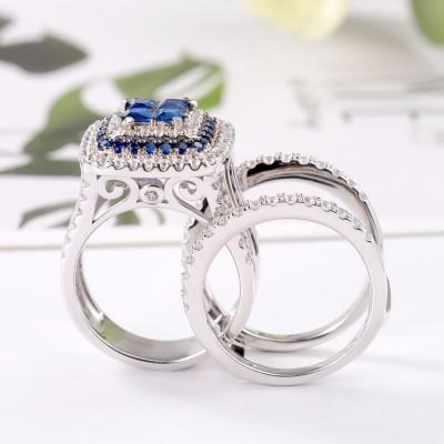 Princess Cut Blue Sapphire 925 Sterling Silver Interchangeable Bridal Sets