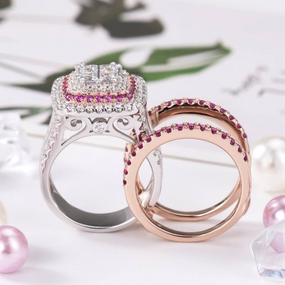 Princess Cut White Sapphire 925 Sterling Silver Rose Gold Interchangeable Bridal Sets
