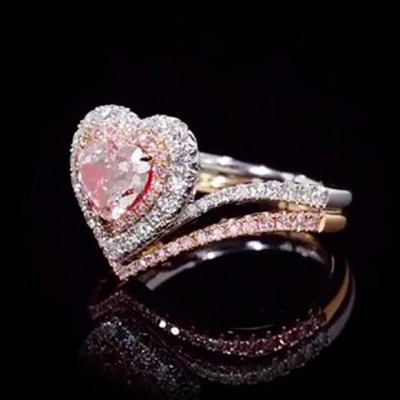 Heart Cut Pink Sapphire Rose Gold 925 Sterling Silver Halo Bridal Sets