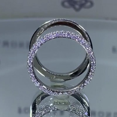 Round Cut White Sapphire 925 Sterling Silver Double Bands
