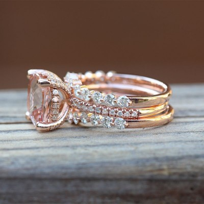 Cushion Cut 925 Sterling Silver Three-piece Rose Gold Bridal Sets