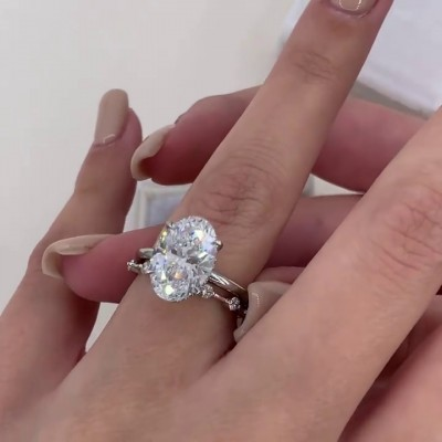 Oval Cut White Sapphire 925 Sterling Silver 2-Piece Bridal Sets